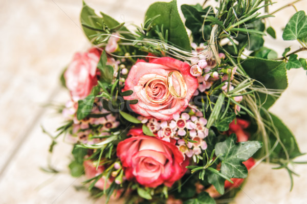 Bridal Bouquet with Wedding Rings Stock photo © tepic