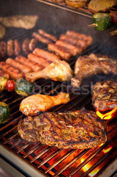 Steak bbq autre viande fond cuisine Photo stock © tepic