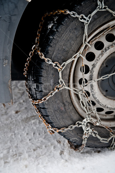 Roestige sneeuw keten auto band staal Stockfoto © tepic