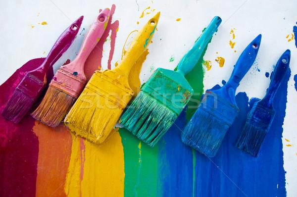 Kleurrijk verschillend kleuren witte frame kunst Stockfoto © tepic