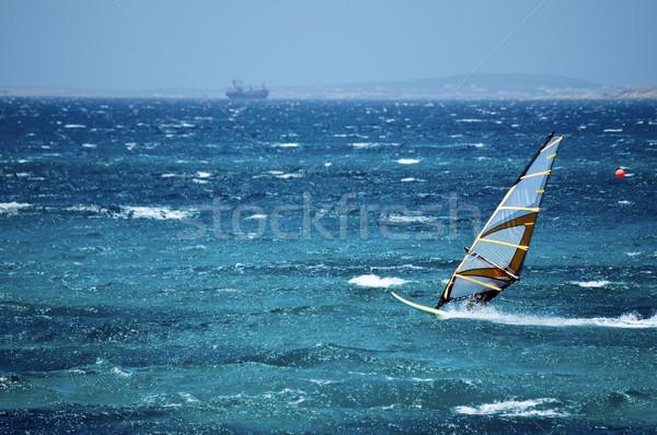 Windszörf nyitva tenger Görögország víz kék Stock fotó © tepic