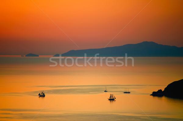 日没 サントリーニ 海 ギリシャ 水 太陽 ストックフォト © tepic