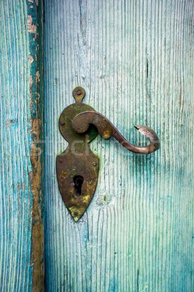 Antik ajtóküszöb világoskék fából készült ajtó épület Stock fotó © tepic