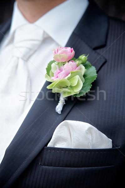 Bloem bruidegom ondiep bruiloft man witte Stockfoto © tepic
