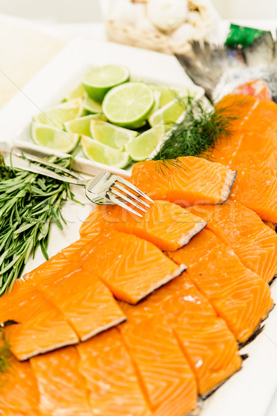 smoked salmon on a buffet Stock photo © tepic