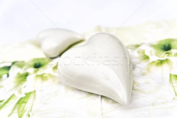 Cserépedények fehér szív kettő szívek vízcseppek Stock fotó © tepic
