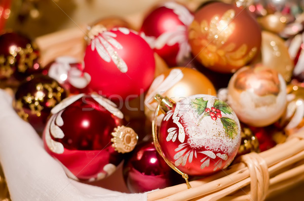 Christmas Balls in a Basket Stock photo © tepic