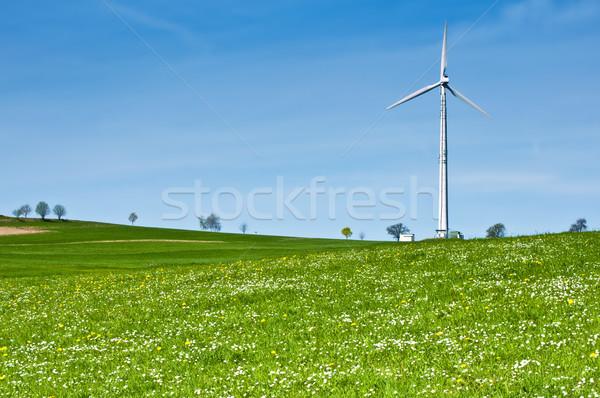 Wind Turbine in Spring Landscape Stock photo © tepic
