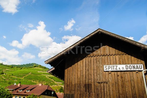 Houten hut teken hemel zomer Blauw Stockfoto © tepic