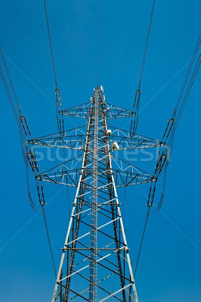 Source de courant ligne ciel bleu construction technologie industrie Photo stock © tepic