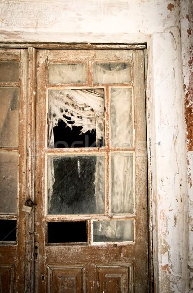 Rot deur Griekenland muur oranje architectuur Stockfoto © tepic
