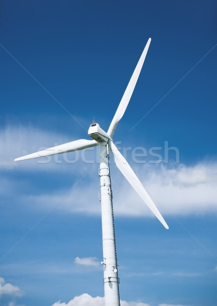 подробность ветровой турбины Blue Sky небе энергии белый Сток-фото © tepic