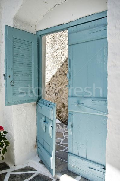 ドア ギリシャ語 スタイル 水色 家 テクスチャ ストックフォト © tepic