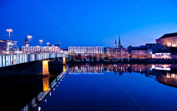 Blauw uur stad donau rivier water Stockfoto © tepic