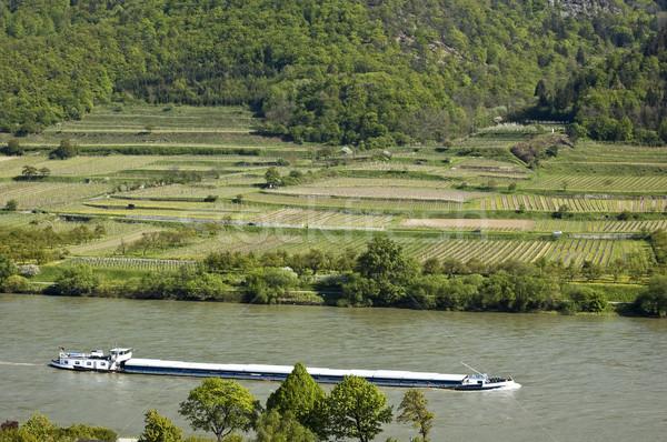 Zdjęcia stock: Statek · towarowy · dunaj · dolinie · obniżyć · Austria · wody