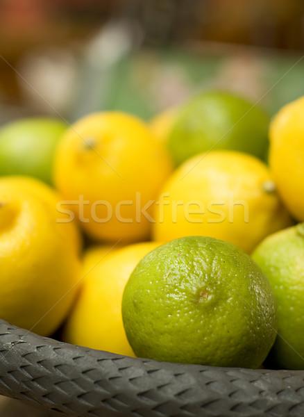 バスケット フル 柑橘類 果物 緑 黄色 ストックフォト © tepic