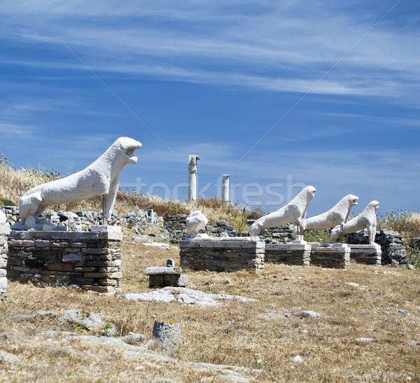 Lions Of Naxians Delos Stock photo © tepic