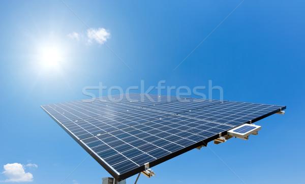 Sun shines on Solar Panel Stock photo © tepic