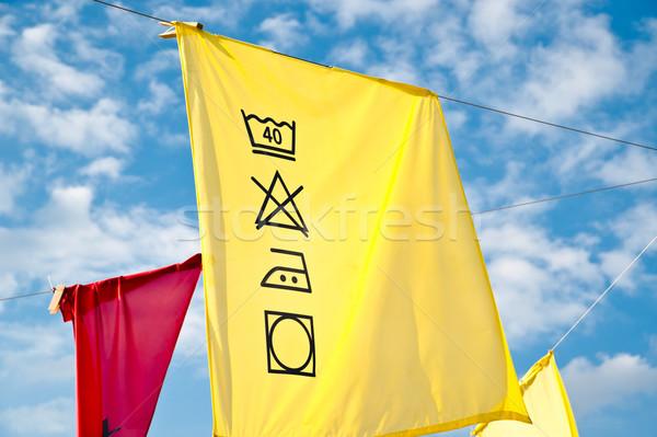 Színes mosás leírás akasztás ruhaszárító égbolt Stock fotó © tepic