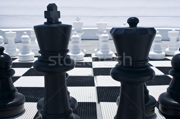 Outdoor schaakbord koning koningin groep strijd Stockfoto © tepic
