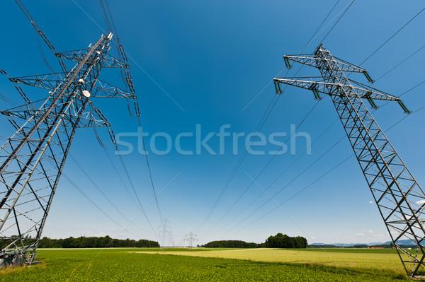 Távvezeték nyár tájkép tiszta égbolt fa tavasz Stock fotó © tepic
