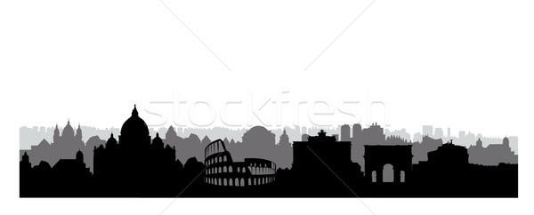 Rome city buildings silhouette. Italian urban landscape. Rome ci Stock photo © Terriana