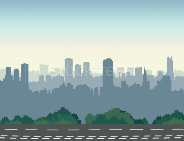 Ulicy miasta panoramę miejskich krajobraz drogowego wieżowce Zdjęcia stock © Terriana