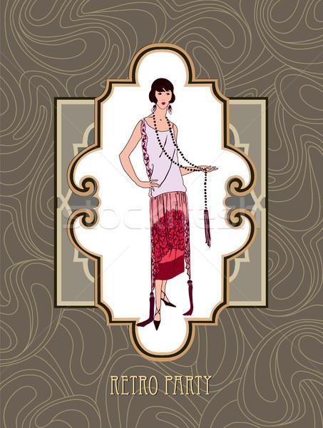 Retro buli kártya divat nő lány Stock fotó © Terriana