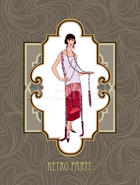 Rétro fête carte mode femme fille Photo stock © Terriana