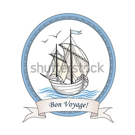 Sailing ship. Retro transport. Marine background Stock photo © Terriana