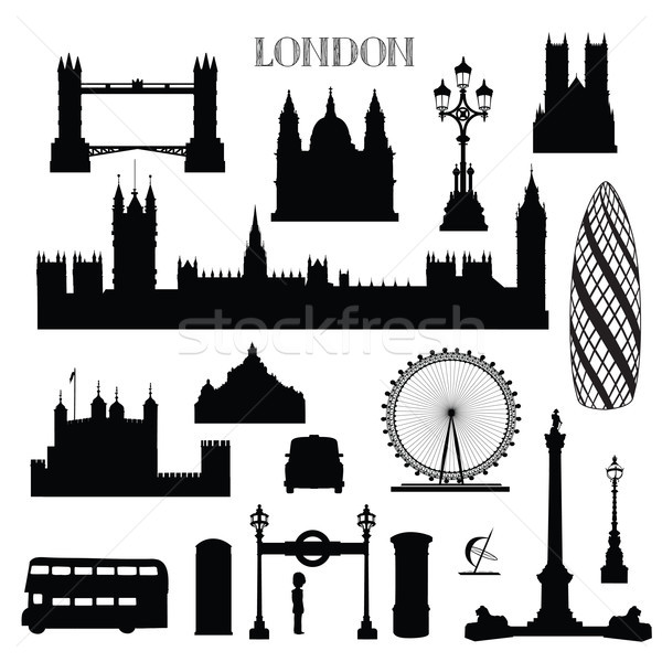 London city icon set. England landmark silhouette with lettering Stock photo © Terriana