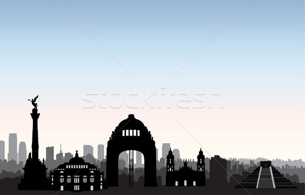 Mexico city skyline. Cityscape landmark silhouette Travel background Stock photo © Terriana