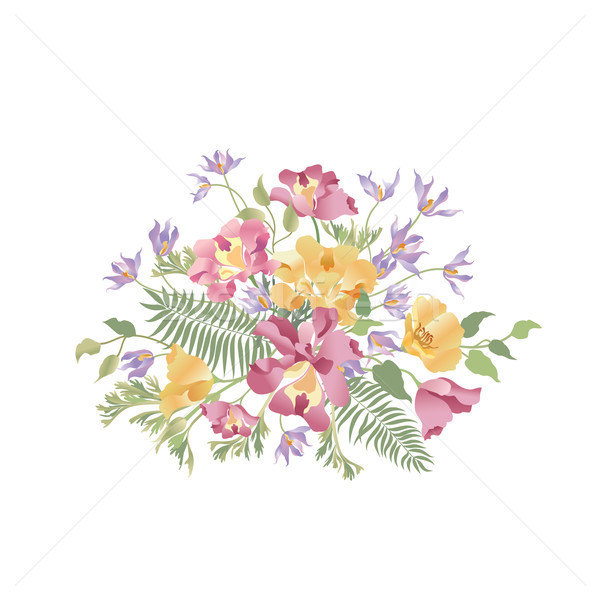 Flower bouquet. Floral frame. Flourish greeting card. Summer dec Stock photo © Terriana