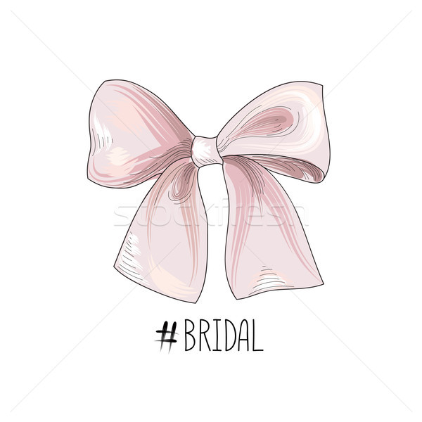 Bow wed sign. Gentle cream bow isolated. Bride team icon Stock photo © Terriana