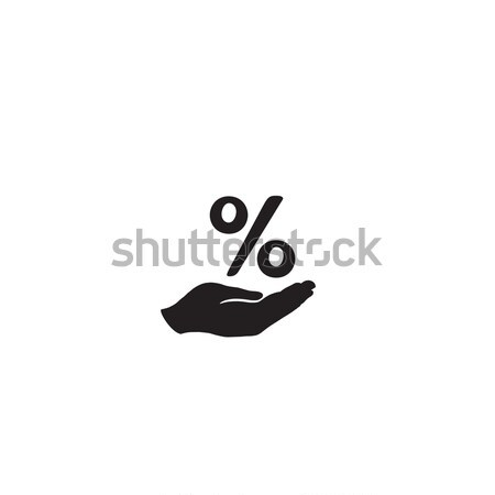 Pourcentage signe main silhouette affaires pour cent Photo stock © Terriana