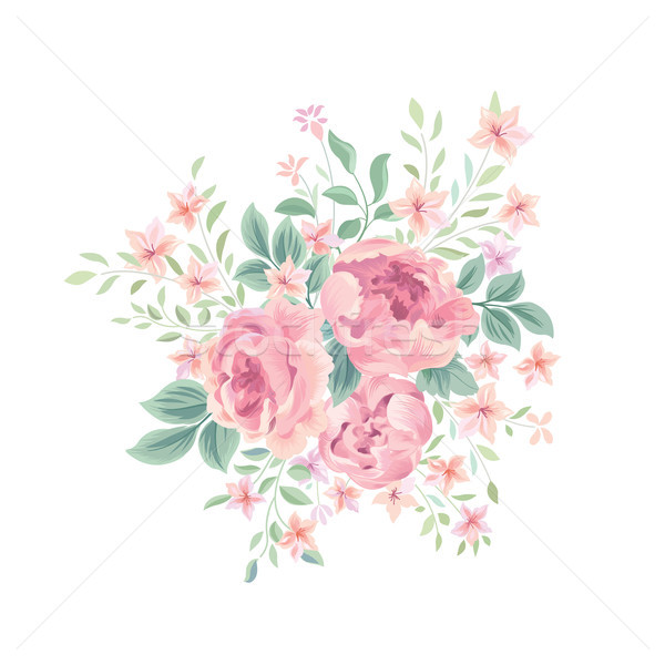 Floral background. Flower rose bouquet. Flourish floral greeting card Stock photo © Terriana