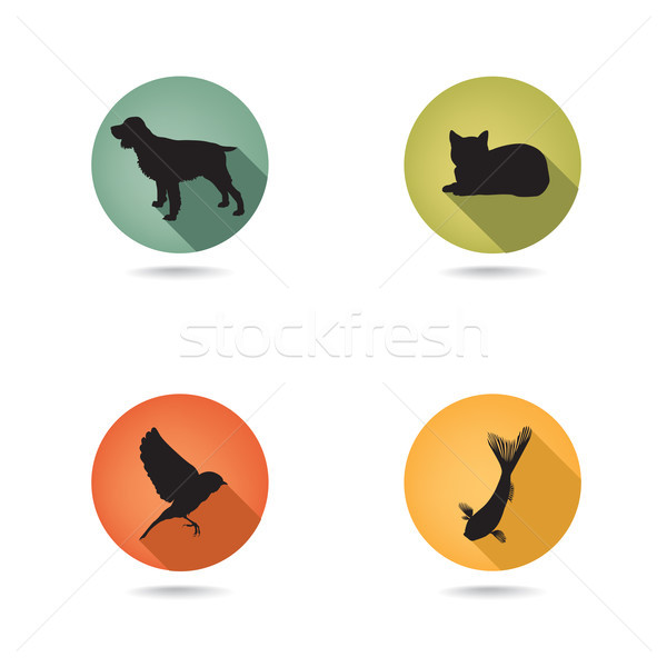 Dog and cat set. Collection of vector pets icon silhouette.  Stock photo © Terriana