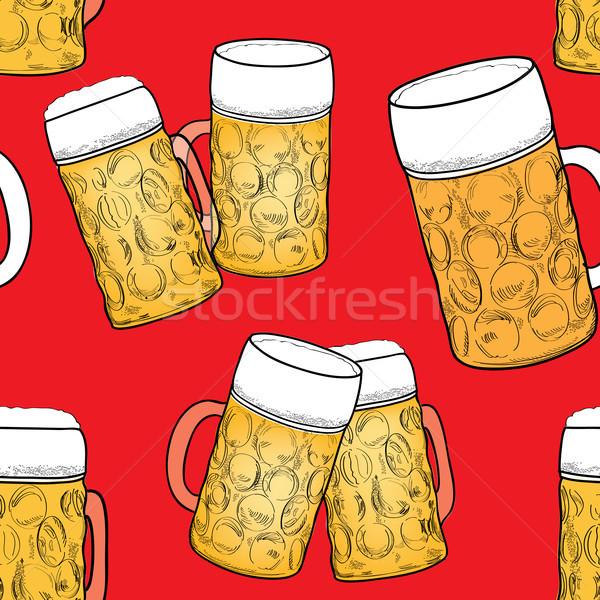 Beer glass seamless pattern. Food background, beer mug Stock photo © Terriana