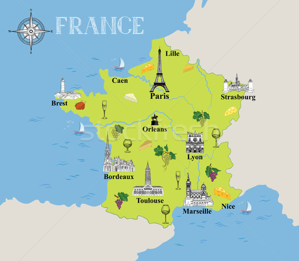 Touristic map of France. Travel gastronomic destination background Stock photo © Terriana