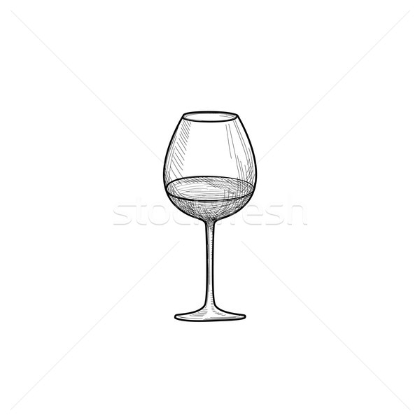 Half full wine glass Wineglass engrave Drink sign Stock photo © Terriana