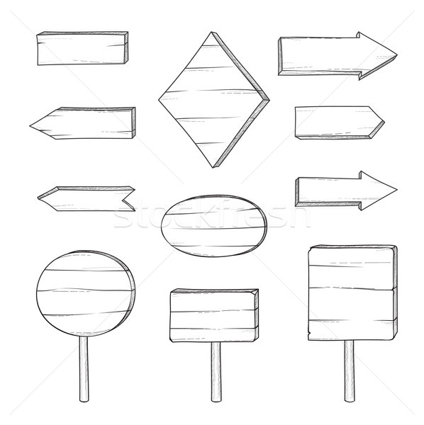 木製 道路標識 矢印 レトロな 彫刻 ストックフォト © Terriana