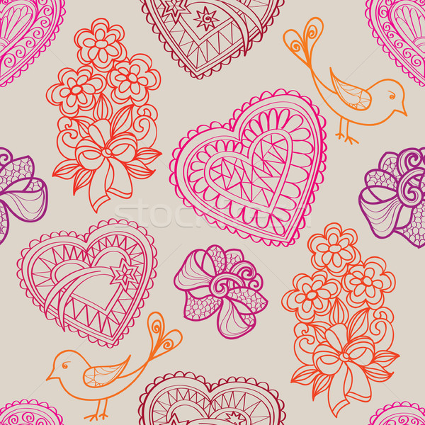Love heart seamless pattern. Holiday greeting background Stock photo © Terriana