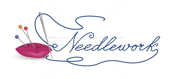 Needle and thread icon. Sewing sign. Needlework symbol button. Stock photo © Terriana