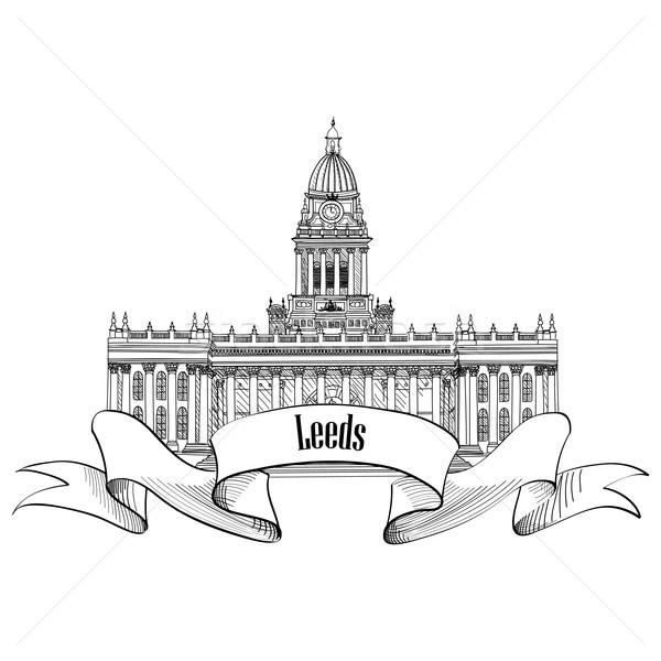 Travel England, Great Britainsign. Leeds city Rathaus, UK. Stock photo © Terriana