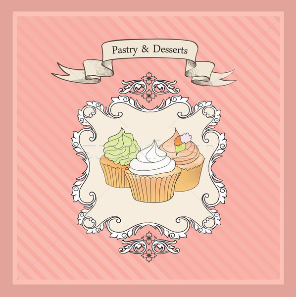 Cakes Background. Retro Bakery Label. Sweets, Desserts Menu. Stock photo © Terriana
