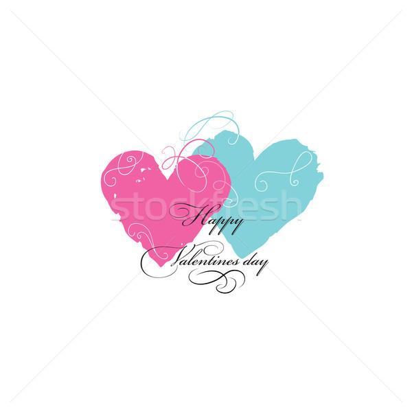 Valentin nap üdvözlőlap szeretet szívek firka virágmintás Stock fotó © Terriana