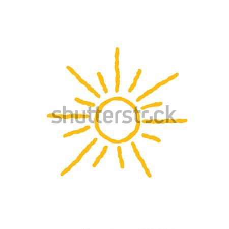 солнце икона изолированный белый болван линия Сток-фото © Terriana