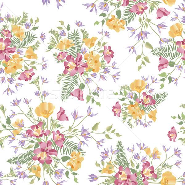 Floral ornamental white seamless pattern. Flower garden backgrou Stock photo © Terriana