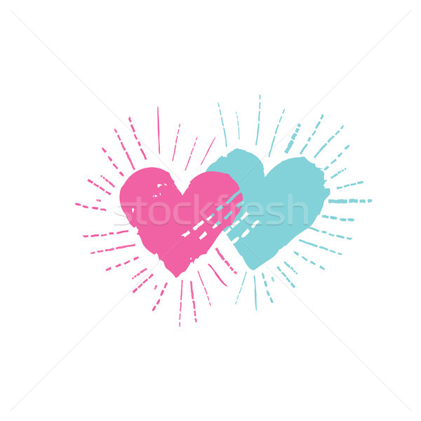 Two hearts with shining beams. Love sign. Valentine's day card Stock photo © Terriana