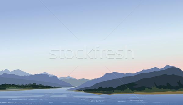 丘 湖 山 スカイライン 水辺 ストックフォト © Terriana